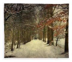 Enchanting Dutch Winter Landscape Fleece Blanket