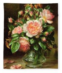 English Elegance Roses In A Glass Fleece Blanket