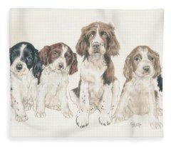 English Springer Spaniel Puppies Fleece Blanket