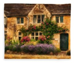 English Stone Cottage Fleece Blanket
