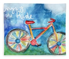 Enjoy The Ride- Colorful Bike Painting Fleece Blanket