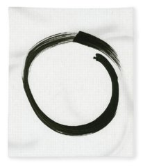 Enso #1 - Zen Circle Minimalistic Black And White Fleece Blanket
