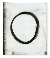 Enso #2 - Zen Circle Abstract Black And Red Fleece Blanket