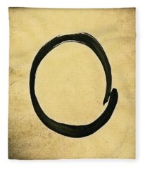 Enso #4 - Zen Circle Abstract Sand And Black Fleece Blanket