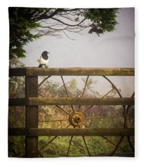 Eurasian Magpie In Morning Mist Fleece Blanket