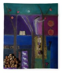 Eve And Pomegranate, 2011 Oil And Collage On Canvas Fleece Blanket