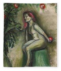 Eve In The Garden  Fleece Blanket