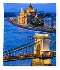 Evening In Budapest Fleece Blanket