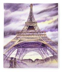 Evening In Paris A Walk To The Eiffel Tower Fleece Blanket