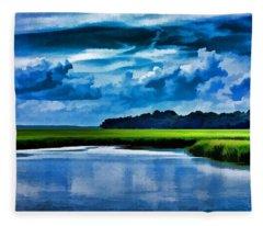 Evening On The Marsh Fleece Blanket