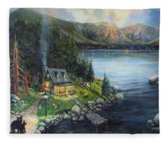 Evening Visitors Fleece Blanket