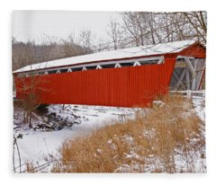 Everett Rd. Covered Bridge In Winter Fleece Blanket