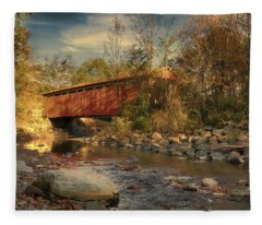 Everett Rd Summit County Ohio Covered Bridge Fall Fleece Blanket