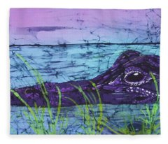 Everglades Gator Fine Art Batik Fleece Blanket