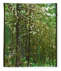 Evergreen Forest Watercolor Effect Art Prints Fleece Blanket