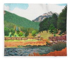 Evergreen Lake Spring Fleece Blanket