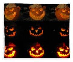 Fleece Blanket featuring the sculpture Evil Flippy Pumpkin by Shawn Dall
