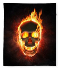 Evil Skull In Flames And Smoke Fleece Blanket