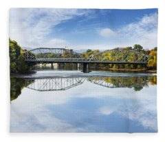 Fleece Blanket featuring the photograph Exchange St. Bridge Rock Bottom Dam Binghamton Ny by Christina Rollo
