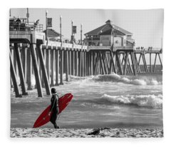Existential Surfing At Huntington Beach Selective Color Fleece Blanket