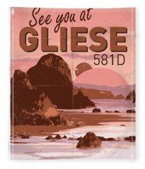 Exoplanet 01 Travel Poster Gliese 581 Fleece Blanket