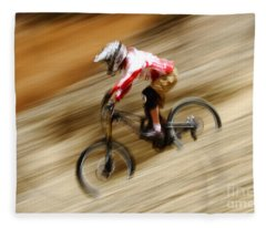 Extreme Downhill Cycling Fleece Blanket