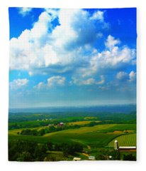 Eyes Over Farmland Fleece Blanket
