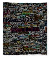 F - Words Fleece Blanket