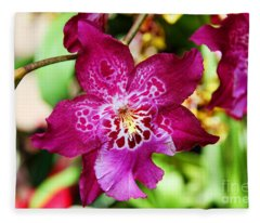 Fabulous Fushia Orchids By Diana Sainz Fleece Blanket