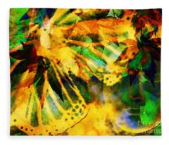 Face In The Rock Conjures Leaves Into Butterfly Fleece Blanket