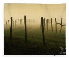 Fading Into The Fog Fleece Blanket