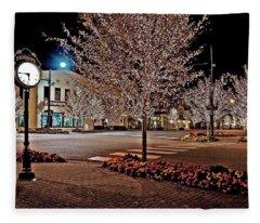 Fairhope Ave With Clock Night Image Fleece Blanket
