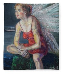 Fairy On A Stone Fleece Blanket
