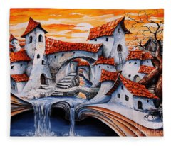 Fairy Tale City - Magic Stream Fleece Blanket