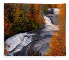 Fall At Triple Falls Fleece Blanket