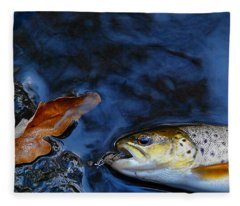 Fall Brown Trout Fleece Blanket