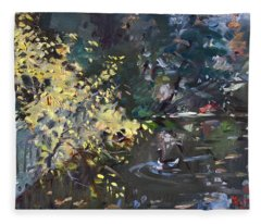 Fall By The Pond Fleece Blanket