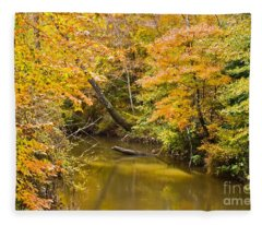 Fall Creek Foliage Fleece Blanket