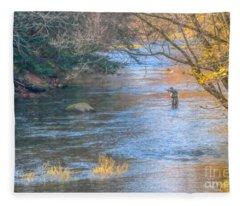 Fall Fly Fisherman Fleece Blanket