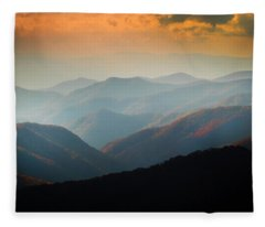 Fall Foliage Ridgelines Great Smoky Mountains Painted  Fleece Blanket