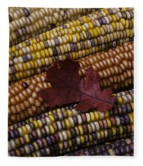 Fall Indian Corn With Leaf Fleece Blanket