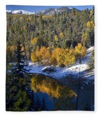 Fall Reflections On Bobcat Pass Fleece Blanket