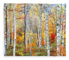 Fall Trees, Shinhodaka, Gifu, Japan Fleece Blanket