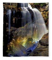 Falls And Rainbow Fleece Blanket
