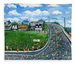 Falmouth Road Race Running Falmouth Fleece Blanket