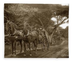 Family Out Carriage Ride On The 17 Mile Drive In Pebble Beach Circa 1895 Fleece Blanket