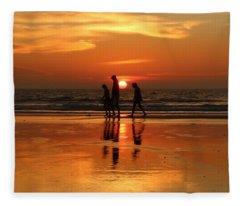 Family Reflections At Sunset - 1 Fleece Blanket