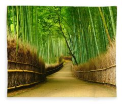 Famous Bamboo Grove At Arashiyama Fleece Blanket