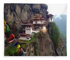 Famous Tigers Nest Monastery Of Bhutan 10 Fleece Blanket
