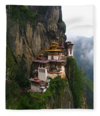 Famous Tigers Nest Monastery Of Bhutan Fleece Blanket
